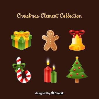 Colección adorable de elementos de navidad con diseño realista