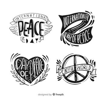 Colección adorable de etiquetas del día de la paz dibujadas a mano