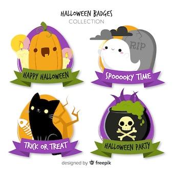 Colección adorable de etiquetas de halloween