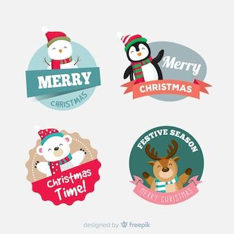 Colección adorable de etiquetas de navidad con diseño plano