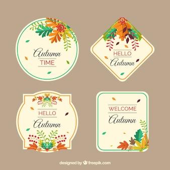 Colección adorable de etiquetas de otoño dibujadas a mano