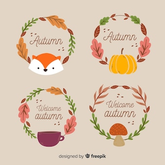Colección adorable de etiquetas de otoño con hojas