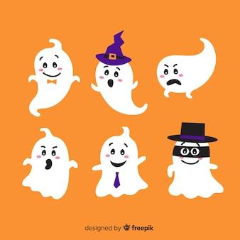 Colección adorable de fantasmas de halloween con diseño plano