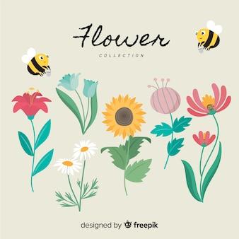 Colección adorable de flores con diseño plano