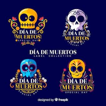 Colección adorable de insignias de festividad mexicana con diseño plano
