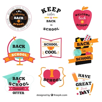 Colección adorable de insignias de vuelta al colegio