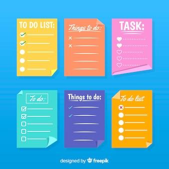 Colección adorable de listas de cosas que hacer con diseño plano
