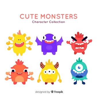 Colección adorable de monstruos de halloween con diseño plano