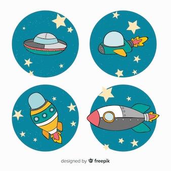 Colección adorable de naves espaciales dibujadas a mano