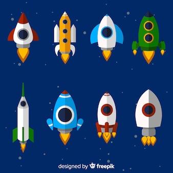 Colección adorable de naves espaciales con diseño plano