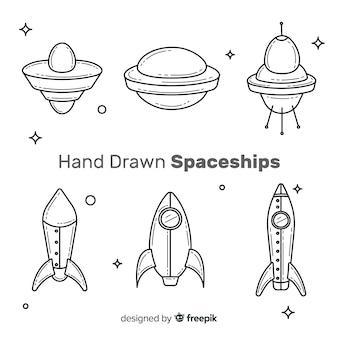 Colección adorable de naves espaciales con estilo de dibujo a mano