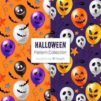 Colección adorable de patrones de halloween en acuarela