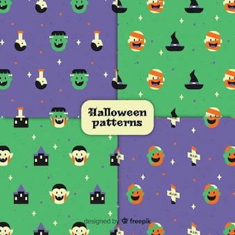 Colección adorable de patrones de halloween vintage