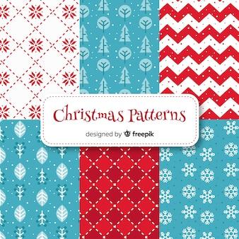 Colección adorable de patrones de navidad con diseño plano