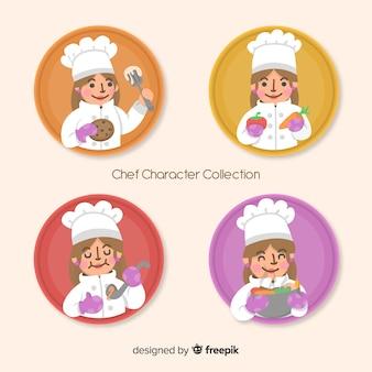 Colección adorable de personajes de chef