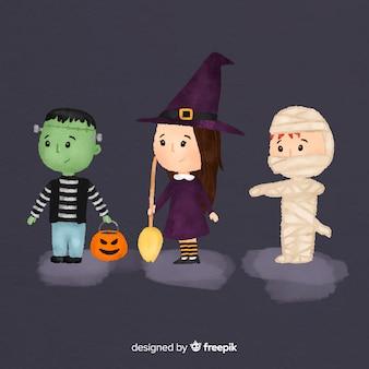 Colección adorable de personajes de halloween en acuarela
