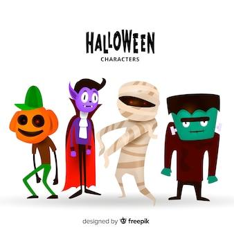 Colección adorable de personajes de halloween dibujados a mano