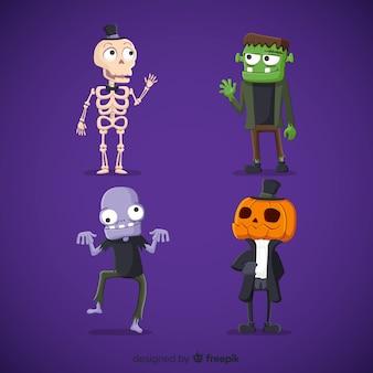Colección adorable de personajes de halloween con diseño plano
