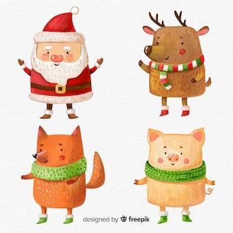 Colección adorable de personajes de navidad en acuarela