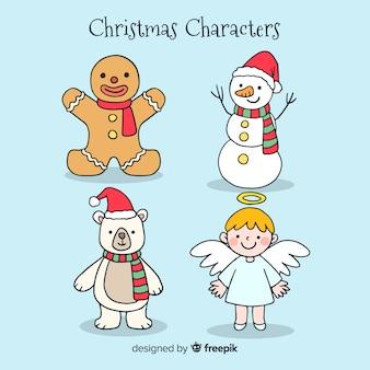 Colección adorable de personajes de navidad dibujados a mano