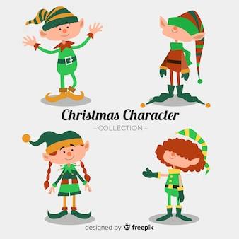 Colección adorable de personajes de navidad con diseño plano