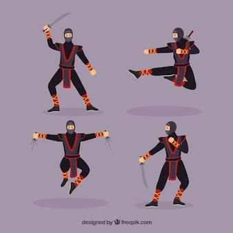 Colección adorable de personajes de ninja con diseño plano