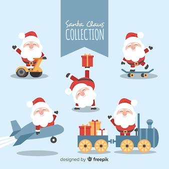 Colección adorable de personajes de santa claus con diseño plano
