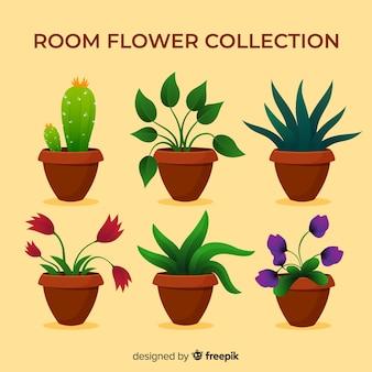 Colección adorable de plantas con diseño plano