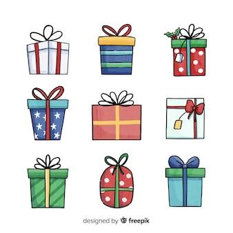 Colección adorable de regalos de navidad en acuarela