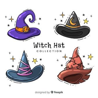 Colección adorable de sombreros de bruja dibujados a mano