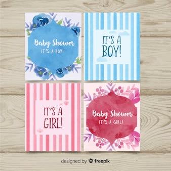 Colección adorable de tarjetas de baby shower en acuarela