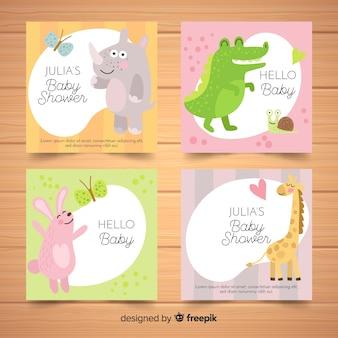 Colección adorable de tarjetas de baby shower dibujadas a mano