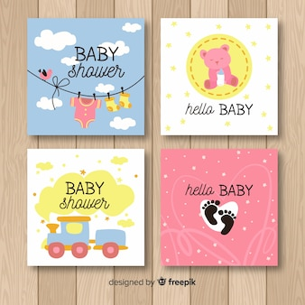 Colección adorable de tarjetas de baby shower con diseño plano
