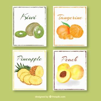 Colección adorable de tarjetas de comida en acuarela