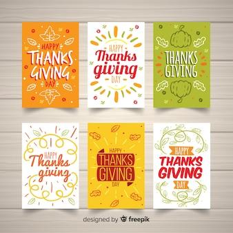 Colección adorable de tarjetas del día de acción de gracias dibujadas a mano