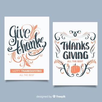 Colección adorable de tarjetas del día de acción de gracias con diseño plano