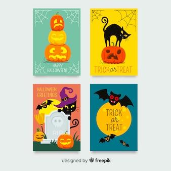 Colección adorable de tarjetas de halloween dibujadas a mano