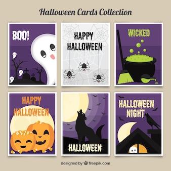 Colección adorable de tarjetas de halloween