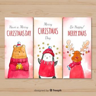Colección adorable de tarjetas de navidad en acuarela
