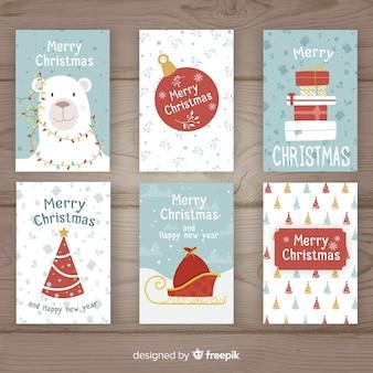 Colección adorable de tarjetas de navidad dibujadas a mano