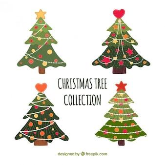 Colección de adorables árboles de navidad