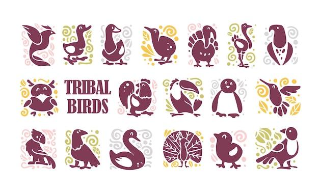 Colección de adornos de amplificador de iconos de aves tribales lindo plano aislado sobre fondo blanco silueta de aves exóticas bosque de granja doméstica norte y trópico bueno para plantilla de logotipo diseño web patrón