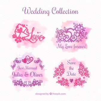 Colección de adornos de boda en acuarela