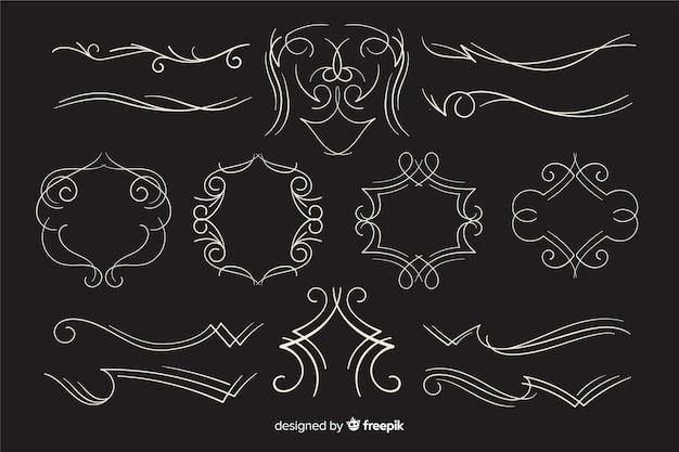 Colección de adornos de boda caligráficos sobre fondo negro