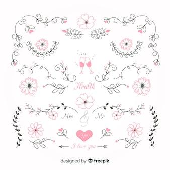 Colección de adornos de boda coloridos dibujados a mano