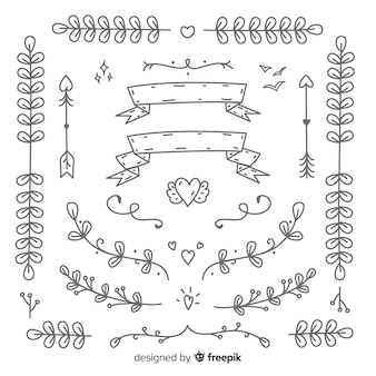 Colección de adornos de boda decorativos dibujados a mano