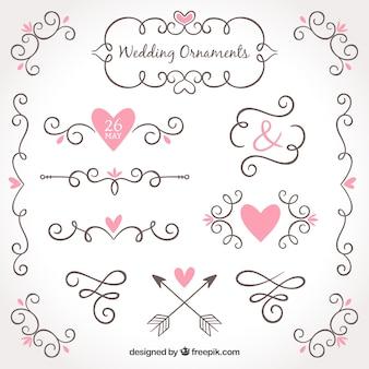 Colección de adornos de boda dibujada a mano