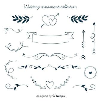 Colección de adornos de boda dibujadas a mano