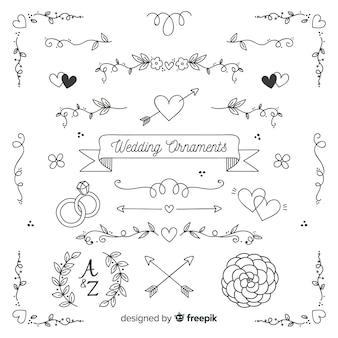 Colección de adornos de boda dibujados a mano minimalista