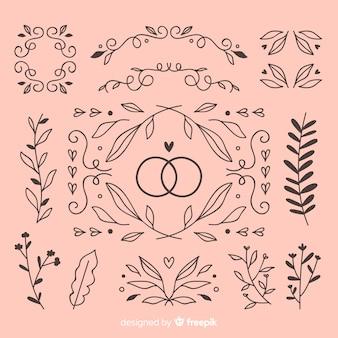 Colección de adornos de boda dibujados a mano rosa
